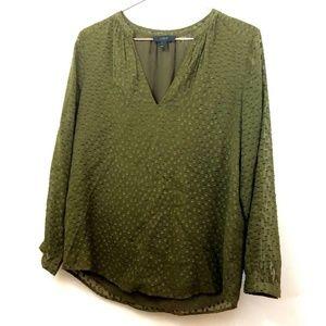 J. CREW Silk Clip Dot Olive Green Women's Blouse 0